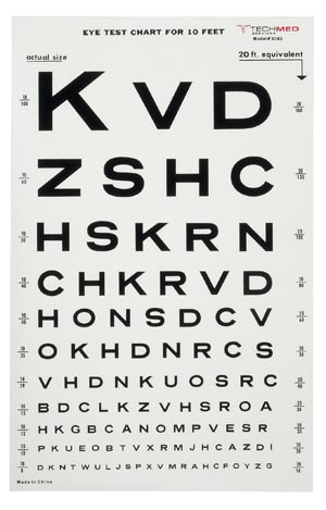 DUKAL TECH-MED EYE CHARTS : 3062 EA $11.56 Stocked