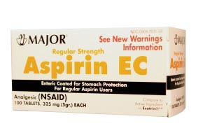 MAJOR ASPIRIN TABLETS : 100308 EA                    $1.64 Stocked