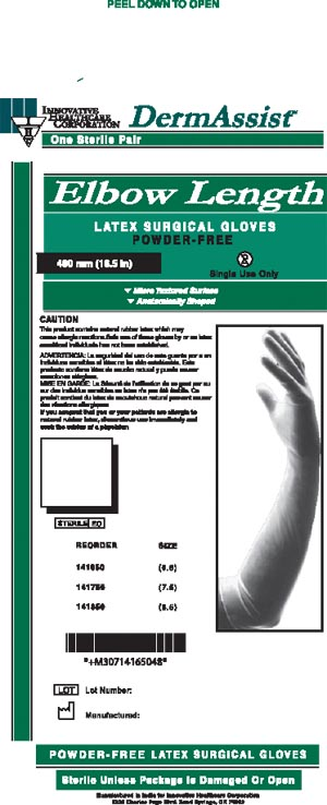 INNOVATIVE DERMASSIST ELBOW LENGTH POWDER-FREE LATEX SURGICAL GLOVES : 141850 BX                       $51.25 Stocked