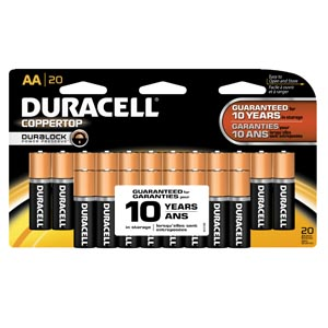 DURACELL COPPERTOP ALKALINE RETAIL BATTERY WITH DURALOCK POWER PRESERVE™ TECHNOLOGY : MN1500B20 PK $10.72 Stocked