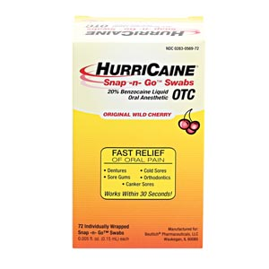 BEUTLICH HURRICAINE TOPICAL ANESTHETIC SNAP -N- GO™ SWABS : 0283-0569-72 BX $25.40 Stocked