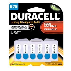 DURACELL HEARING AID BATTERY : DA675B6W PK               $38.08 Stocked
