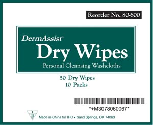 INNOVATIVE DERMASSIST DRY WIPES : 80-600 CS $14.95 Stocked