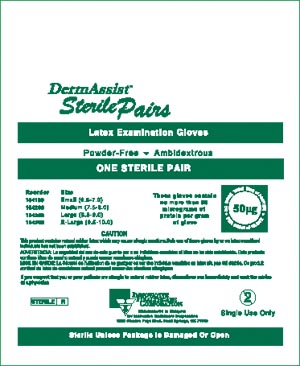 INNOVATIVE DERMASSIST POWDER-FREE STERILE LATEX EXAM GLOVES : 104100 BX                       $14.01 Stocked
