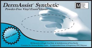 INNOVATIVE DERMASSIST VINYL SYNTHETIC POWDER-FREE EXAM GLOVES : 161300 CS                       $29.25 Stocked