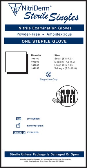 INNOVATIVE NITRIDERM STERILE POWDER-FREE NITRILE EXAM GLOVES : 109200 BX         $25.49 Stocked