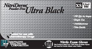 INNOVATIVE NITRIDERM ULTRA BLACK POWDER-FREE NITRILE SYNTHETIC GLOVES : 187200 BX         $6.59 Stocked