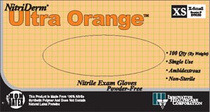 INNOVATIVE NITRIDERM ULTRA ORANGE POWDER-FREE EXAM GLOVES : 199100 BX $6.99 Stocked