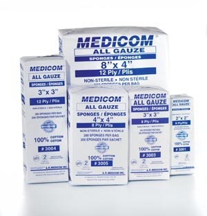 MEDICOM ALL GAUZE SPONGES - NON STERILE : 3005 SLV $4.90 Stocked