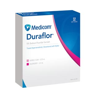 MEDICOM DURAFLOR 5% SODIUM FLUORIDE VARNISH : 1011-BG32 BX                   $40.18 Stocked