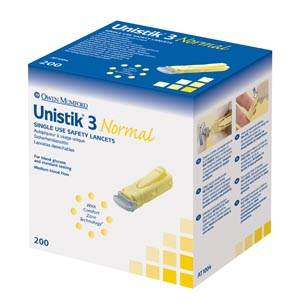OWEN MUMFORD UNISTIK 3 PRE-SET SINGLE USE SAFETY LANCETS : AT1004 BX                       $28.88 Stocked