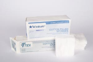 TIDI VENTURE™ 8-PLY NON-STERILE COTTON-FILLED GAUZE SPONGES : 908223 CS $92.04 Stocked
