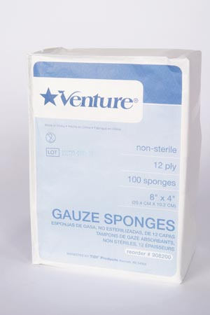 TIDI VENTURE™ 12-PLY NON-STERILE GAUZE SPONGES : 908200 CS $148.90 Stocked