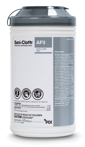 PDI SANI-CLOTH AF3 GERMICIDAL DISPOSABLE WIPE : P63884 EA $8.65 Stocked