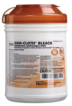 PDI SANI-CLOTH BLEACH GERMICIDAL DISPOSABLE WIPE : P54072 CS $107.33 Stocked