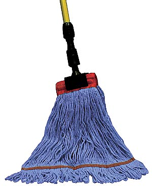 "PRO ADVANTAGE  Wet Mop, 4-Ply, Synthetic Blend, Blue, 1 1/4"" Headband, Single Tailband, Large  Compare to Newell Rubbermaid Brand FGC113BL00"