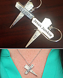 Jesus Junkies ear ring and necklace set: 925 Sterling Silver 7 gram Hand Crafted Earrings and Necklace