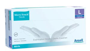 ANSELL MICRO-TOUCH NITRILE POWDER-FREE SYNTHETIC MEDICAL EXAMINATION GLOVES : 6034301 BX $30.69 Stocked